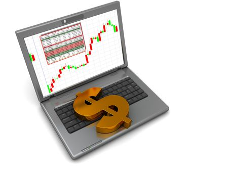 abstract 3d illustration of laptop and golden dollar sign, stock trading concept Stock Illustration - 4646890