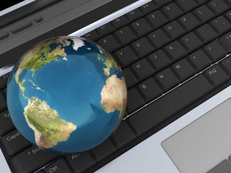 abstract 3d illustration of earth globe on laptop keyboard illustration