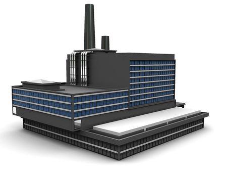edificio industrial: Ilustraci�n 3D de f�brica construyendo sobre fondo blanco