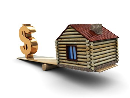 abstract 3d illustration of dollar sign and house on scale Stock Illustration - 4676153
