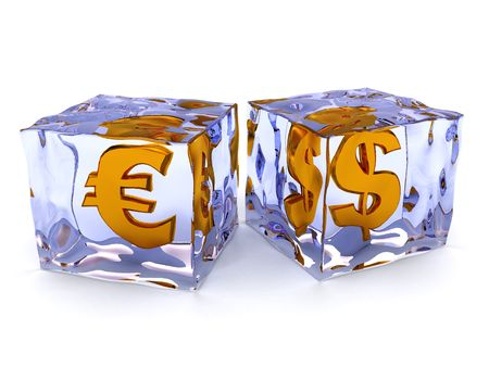 abstract 3d illustration of ice cubes with money signs inside Stock Illustration - 4676182