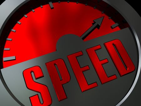 abstract 3d illustration of speed meter with arrow at maximum level illustration