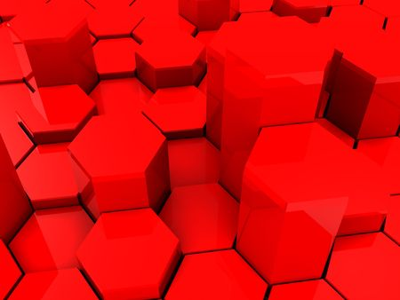 colrful: abstract red plastic backgroun with columns and reflections Stock Photo