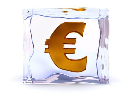 3d illustration of ice cube with euro sign inside Stock Illustration - 4693135