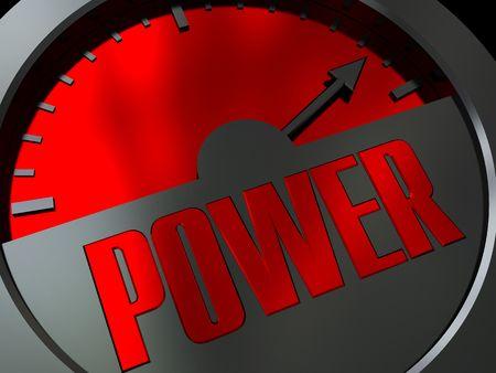 3d illustration of power meter with arrow on maximum level illustration