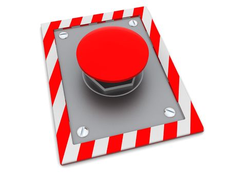 3d illustration of red button on steel plate Stock Illustration - 4693139