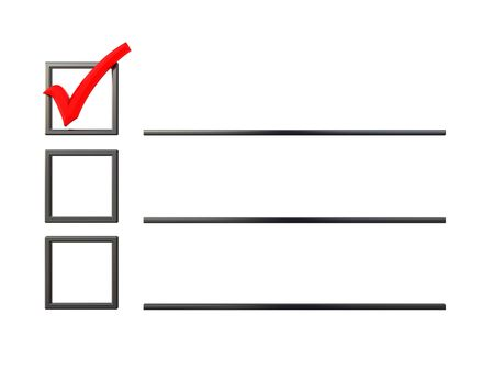 one item: 3d illustration of checklist with one item checked