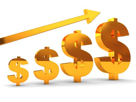 3d illustration of raising dollar signs and arrow Stock Illustration - 4693148