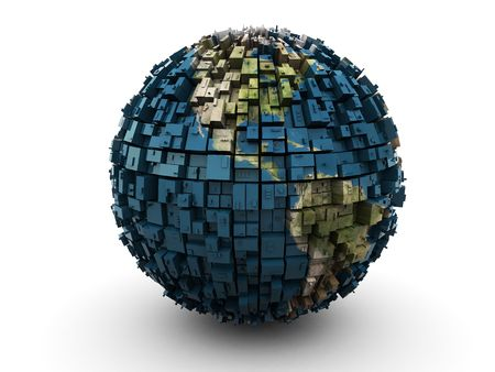 fragments: 3d illustration of abstract earth globe over white background Stock Photo