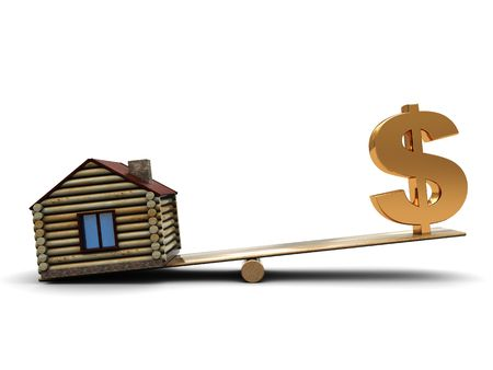 3d illustration of dollar sign and small house on scale Stock Illustration - 4693187