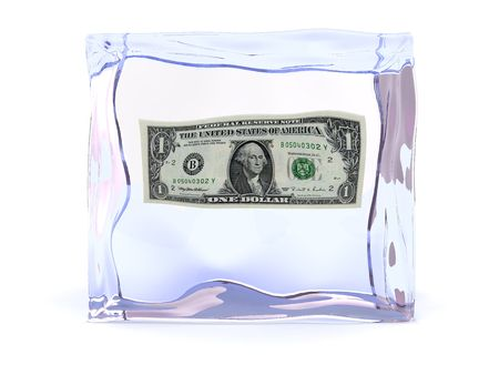 3d illustration of ice cube with one dollar inside Stock Illustration - 4693173