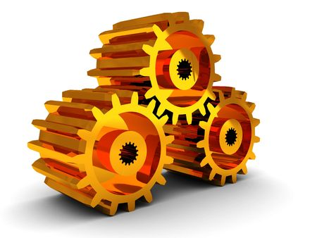 component parts: 3d illustration of golden gear wheels over white background
