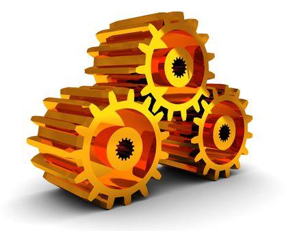 sprocket: 3d illustration of golden gear wheels over white background