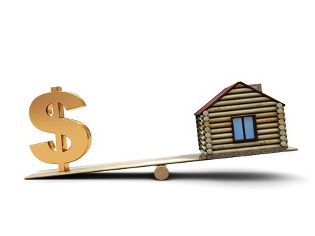 house exchange: 3d illustration of small house and dollar sign on scale Stock Photo