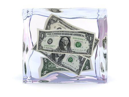 pancetta cubetti: 3d illustrazione di dollari con Ice Cube all'interno