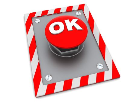 3d illustration of red button with 'ok' sign Stock Illustration - 4718304