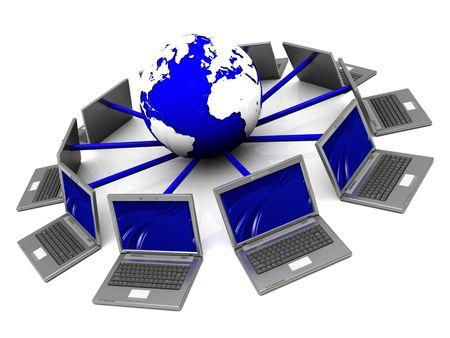 3d illustration of laptop network around earth globe illustration