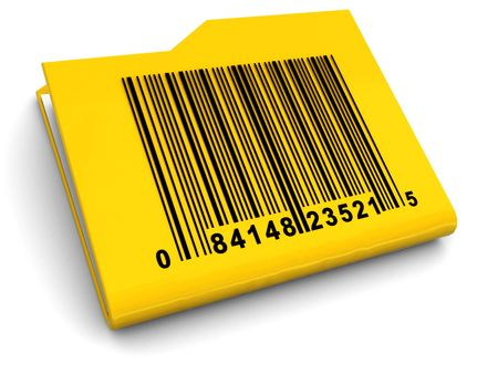 archive site: 3d illustration of yellow folder with bar-code on it