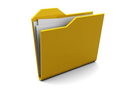 3d illustration of yellow folder with paper over white background Stock Illustration - 4753973