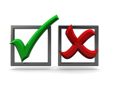 refused: 3d illustration of checkboxes with tick and cross over white background