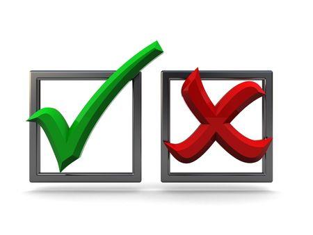 checkbox: 3d illustrazione di barrare le caselle di controllo e con la croce bianca su sfondo