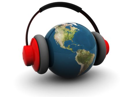 recording: 3d illustration of earth globe in headphones over white background Stock Photo
