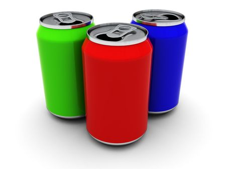 3d illustration of three colorful cans over white background illustration