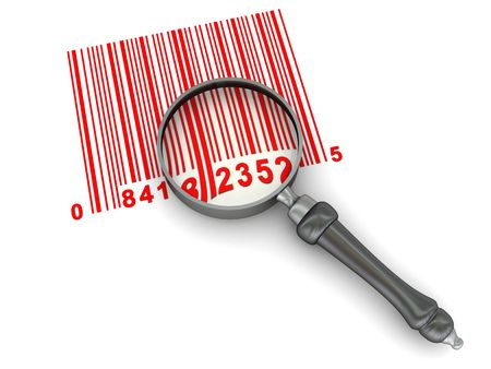 abstract 3d illustration of barcode and magnify glass over white background Stock Illustration - 4775127