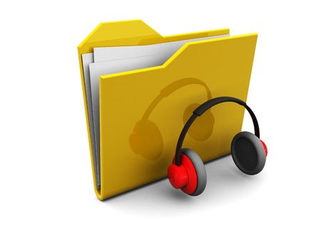 3d illustration of folder icon and headphones, music symbol illustration