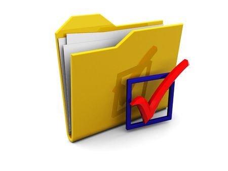 3d illustration of folder symbol and checkbox with red tick Stock Illustration - 4775125