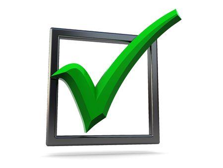 checkbox: 3d illustration del segno di spunta verde in acciaio checkbox