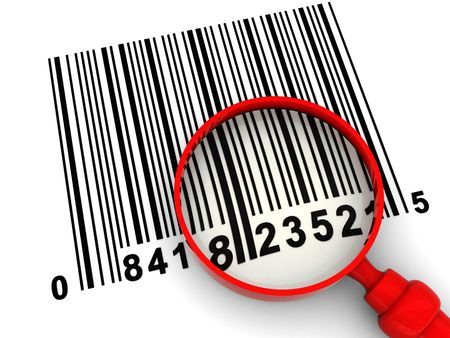 3d illustration of barcode scanning, with magnify glass illustration