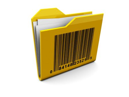 3d illustration of folder symbol with bar-code, over white background illustration