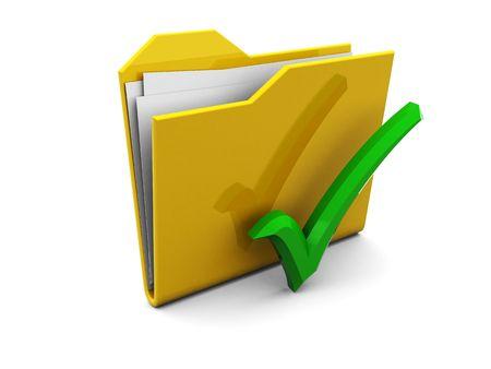 3d illustration of folder icon and green tick, over white background Stock Illustration - 4775169
