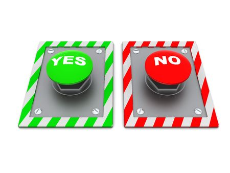 3d illustration of two buttons with captions 'yes' and 'no' Stock Illustration - 4775195