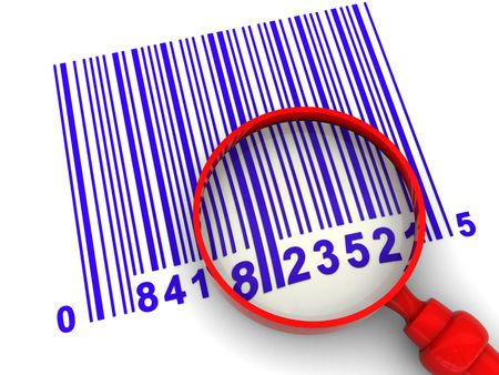 3d illustration of barcode and magnify glass over white background illustration
