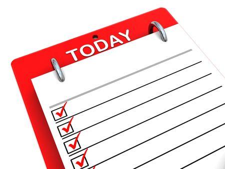school agenda: 3d illustration portapapeles lista de hoy más de fondo blanco