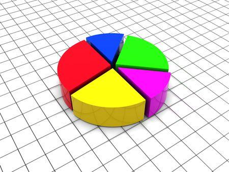 3d illustration of round diagram over grid illustration