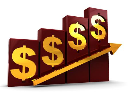 3d illustration of raising charts with dollar signs and arrow illustration