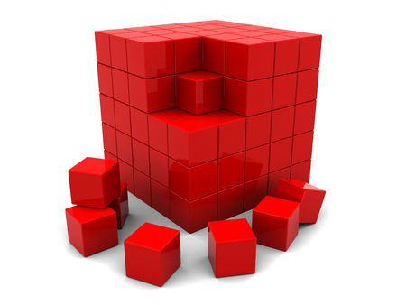 boxs: 3d illustration of red cube built from blocks