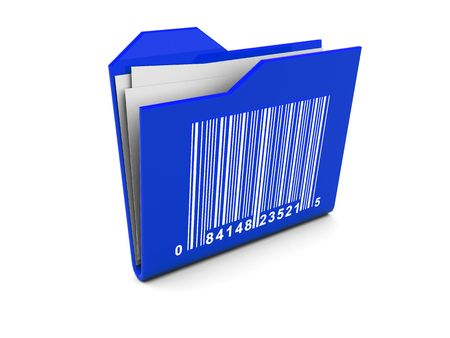 3d illustration of blue folder icon with bar-code on it Stock Illustration - 4826488