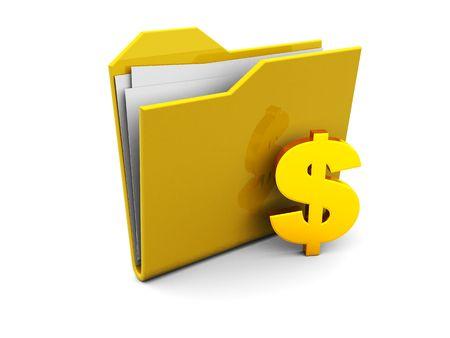 3d illustration of folder icon with golden dollar sign Stock Illustration - 4826434