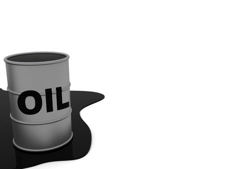 flank: 3d illustration of oil flank at left side of white background Stock Photo