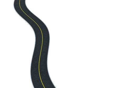 3d illustration of curvy road at left side of white background illustration
