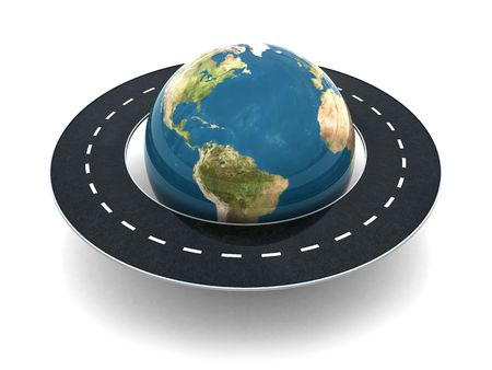 3d illustration of road around earth globe Stock Photo