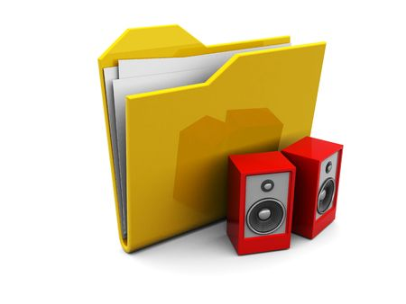 3d illustration of folder icon or symbol with audio speakers, music icon illustration