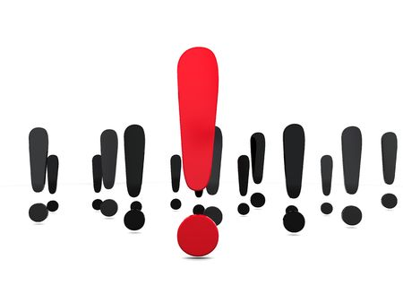 interjection: 3d illustration of exclamation marks over white background