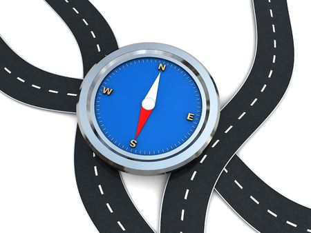 way to freedom: abstract 3d illustration of curvy roads and compass Stock Photo