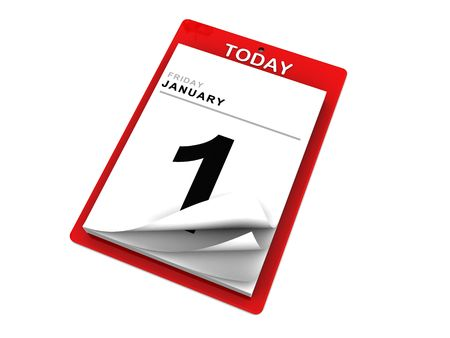 event planning: 3d illustration of red calendar over white background Stock Photo
