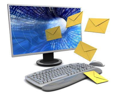 spam mail: 3d illustration of computer with envelopes over white background Stock Photo